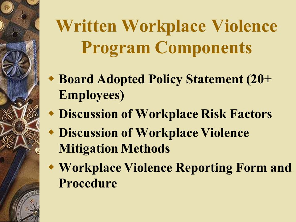 Written Workplace Violence Program Components