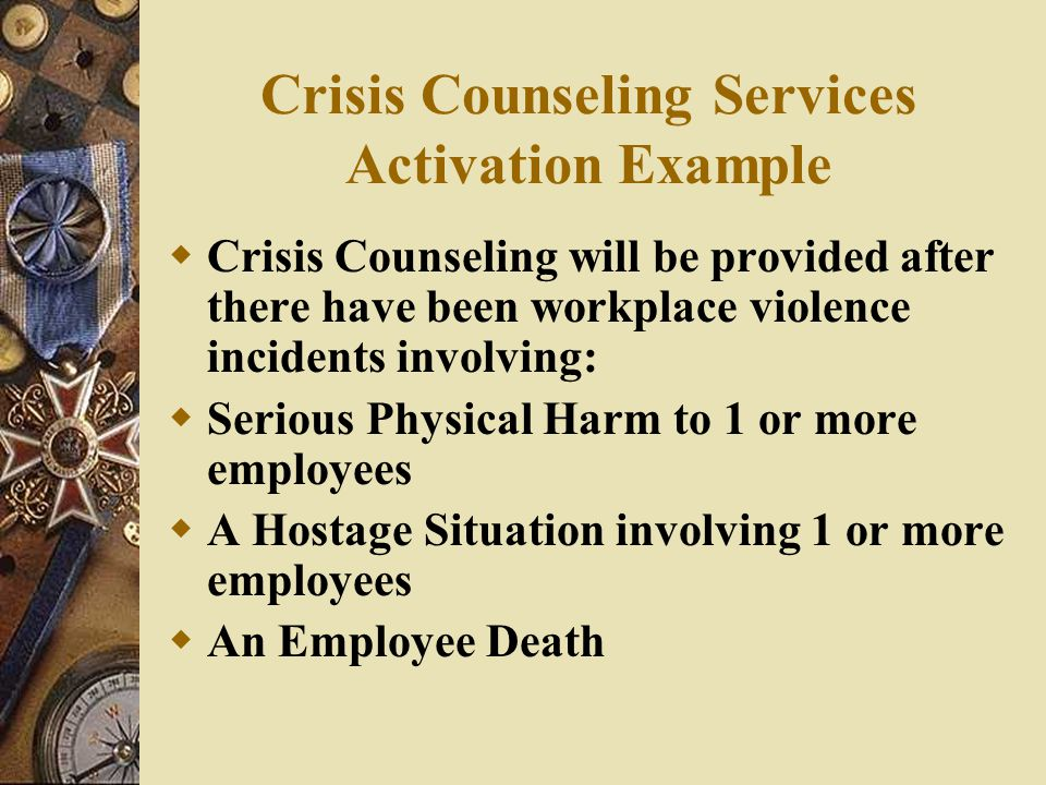 Crisis Counseling Services Activation Example