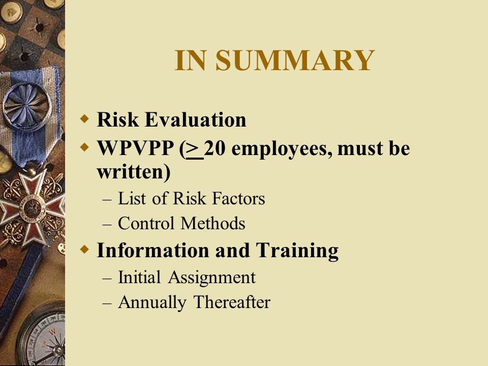 IN SUMMARY Risk Evaluation WPVPP (> 20 employees, must be written)