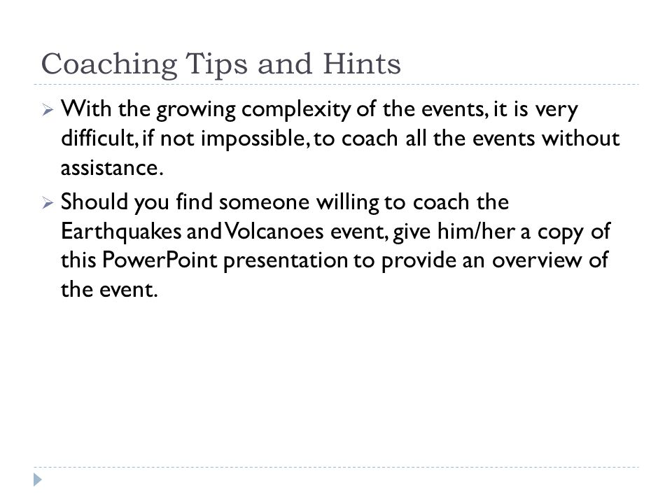 Coaching Tips and Hints