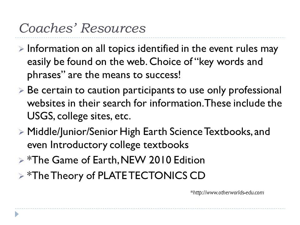 Coaches' Resources