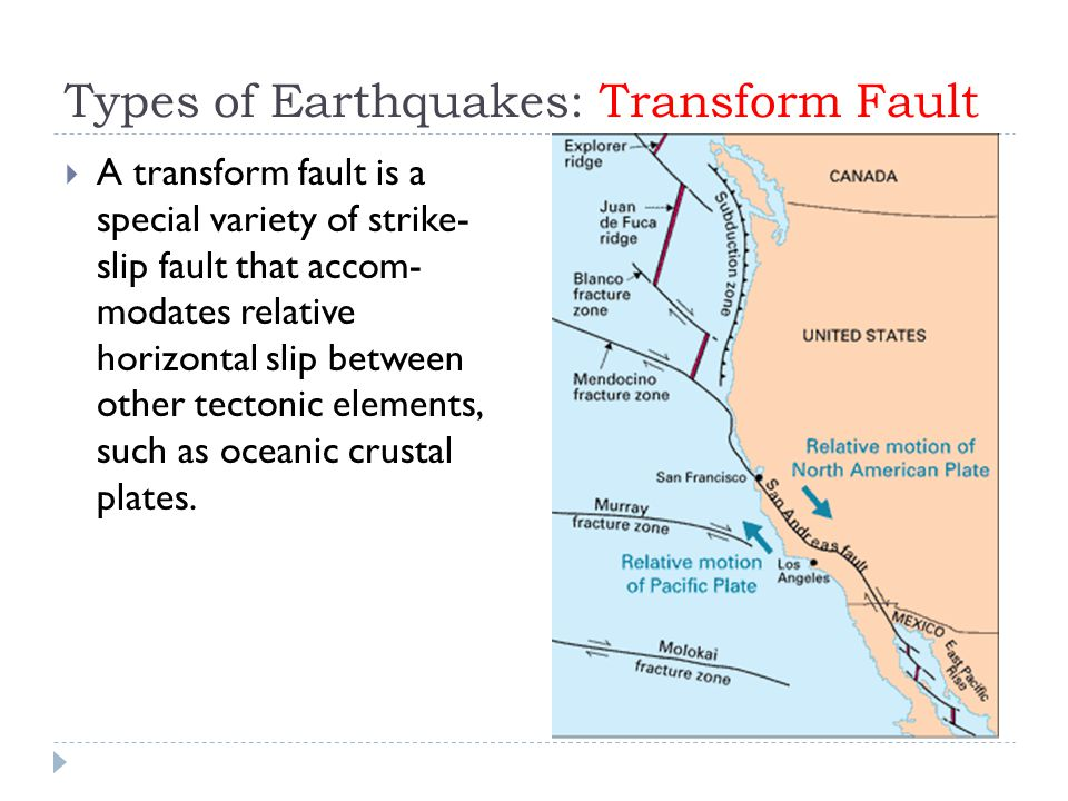Types of Earthquakes: Transform Fault