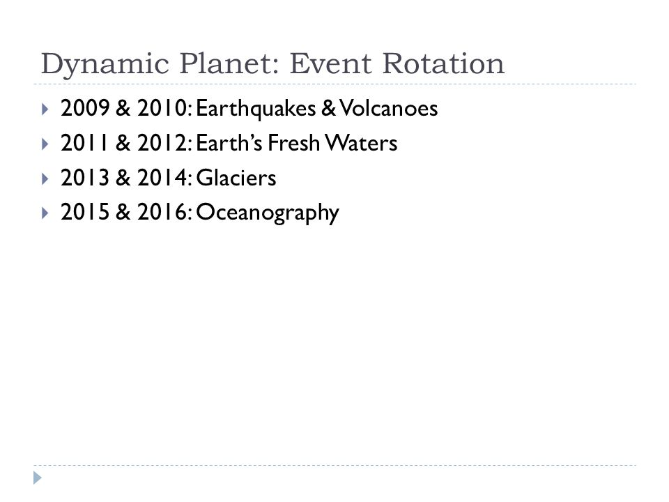 Dynamic Planet: Event Rotation