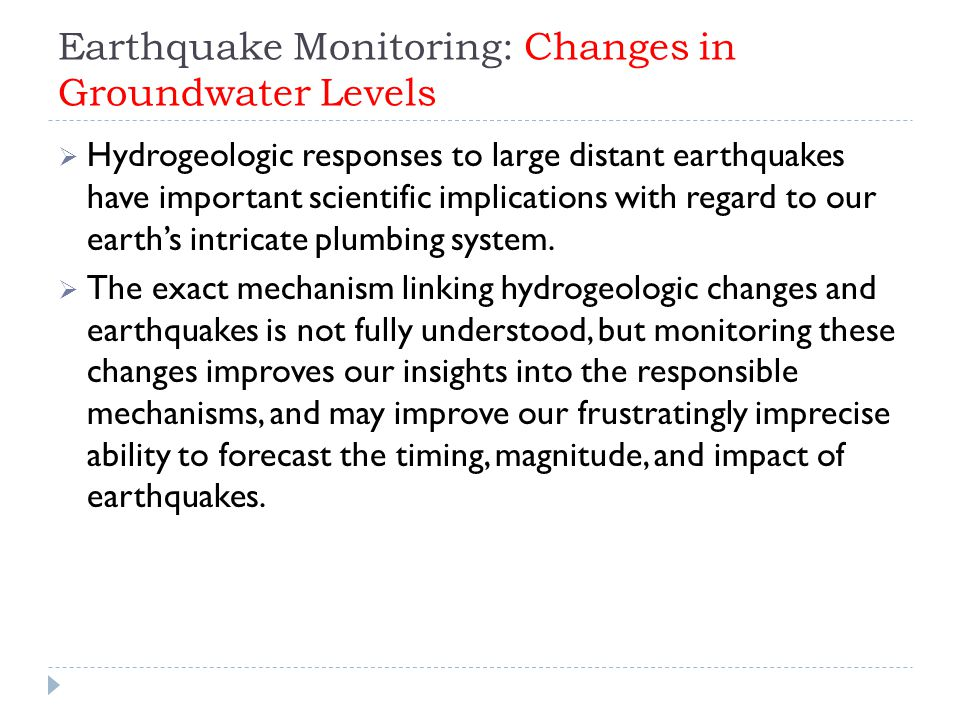Earthquake Monitoring: Changes in Groundwater Levels