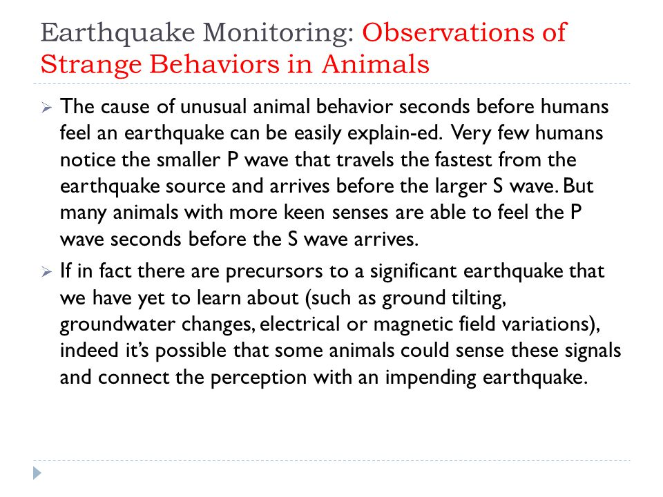 Earthquake Monitoring: Observations of Strange Behaviors in Animals