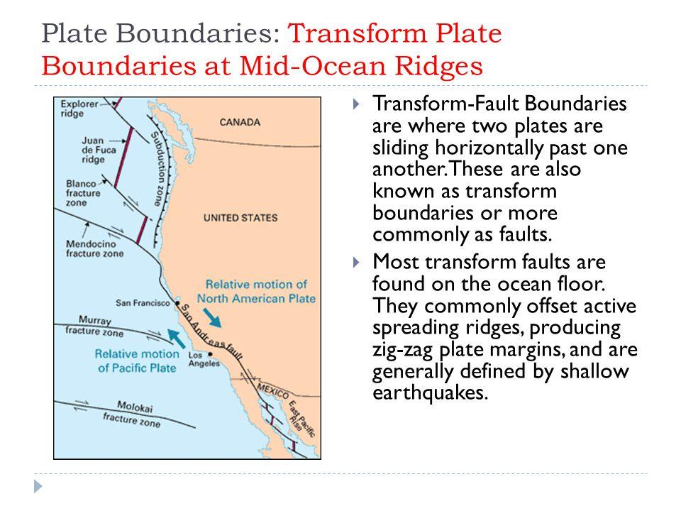 Plate Boundaries: Transform Plate Boundaries at Mid-Ocean Ridges