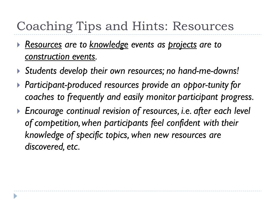 Coaching Tips and Hints: Resources