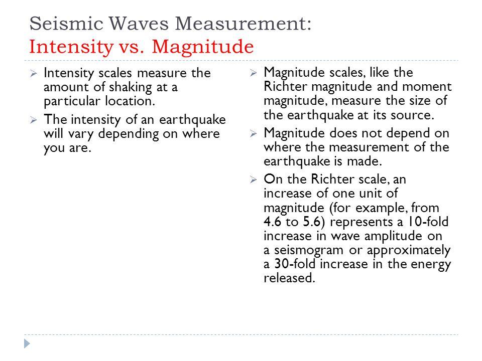 Seismic Waves Measurement: Intensity vs. Magnitude