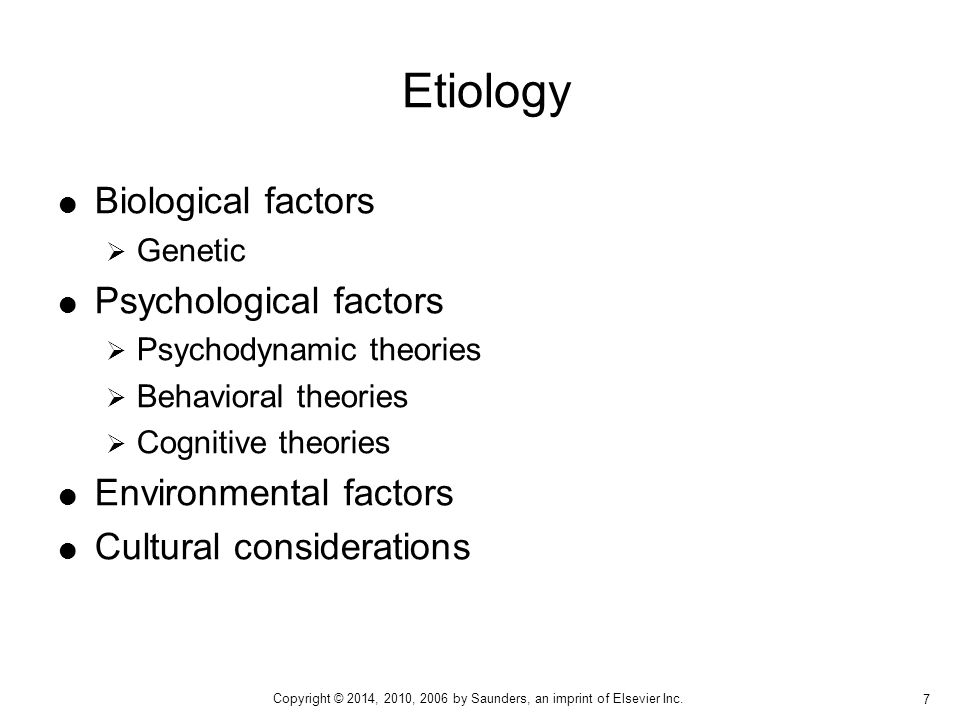 Etiology Biological factors Psychological factors