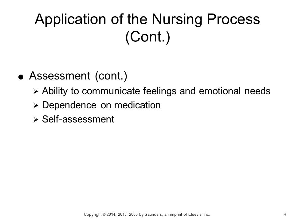 Application of the Nursing Process (Cont.)
