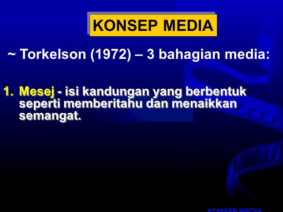 KONSEP MEDIA ~ Torkelson (1972) – 3 bahagian media: