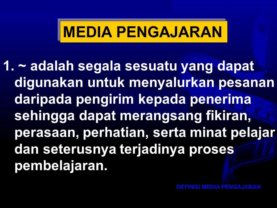 MEDIA PENGAJARAN 1. ~ adalah segala sesuatu yang dapat