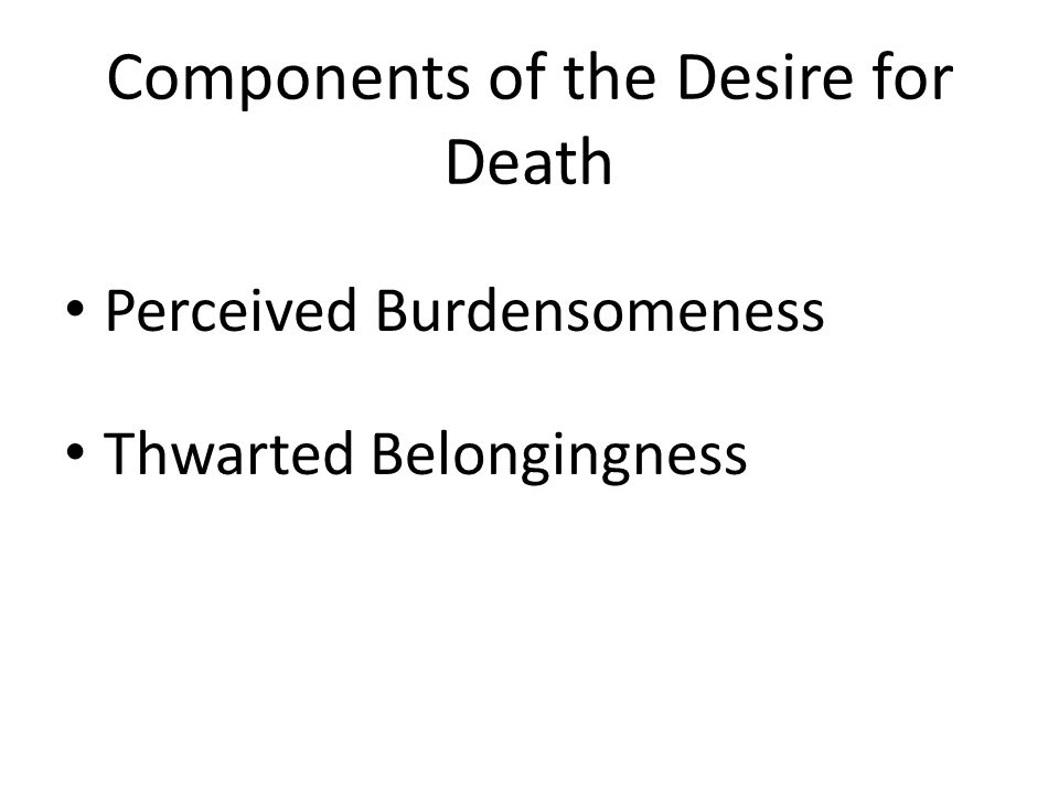 Components of the Desire for Death