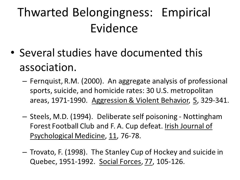 Thwarted Belongingness: Empirical Evidence