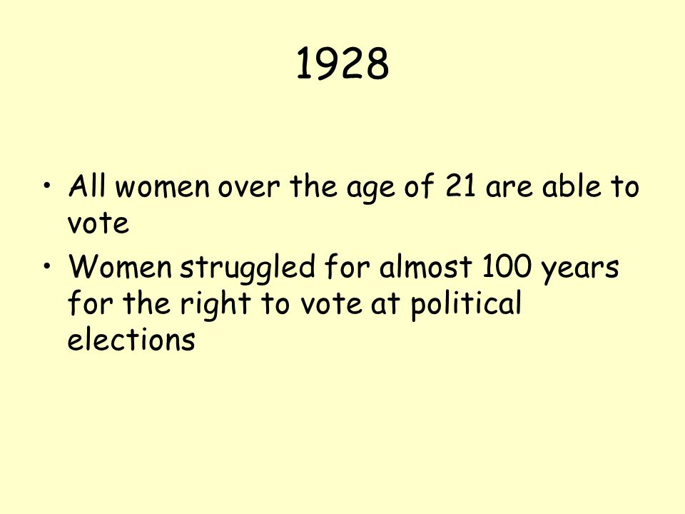 1928 All women over the age of 21 are able to vote