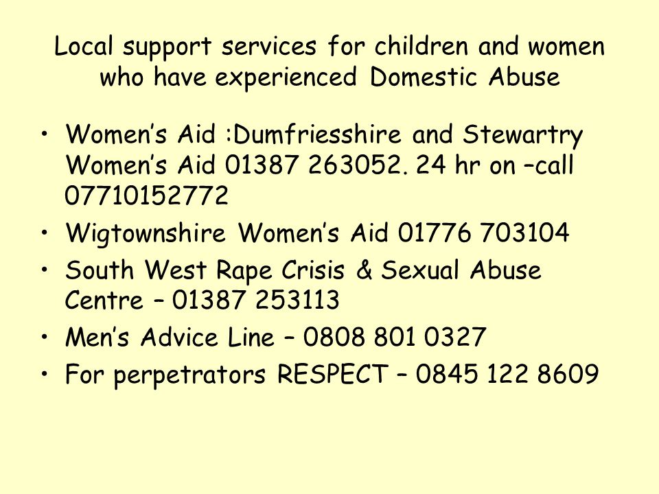 Local support services for children and women who have experienced Domestic Abuse