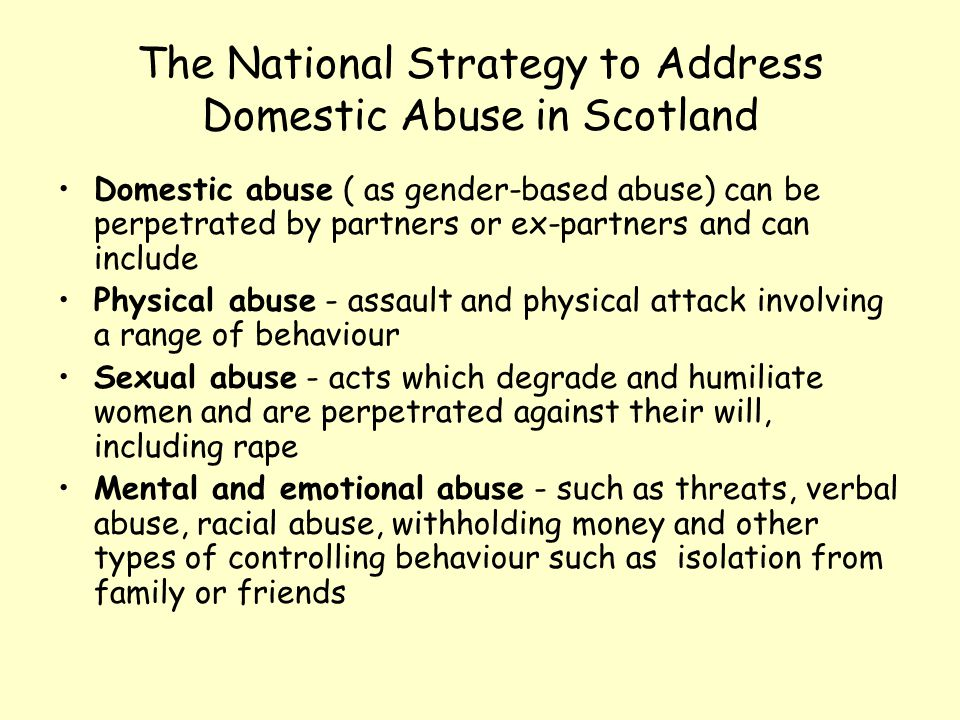 The National Strategy to Address Domestic Abuse in Scotland