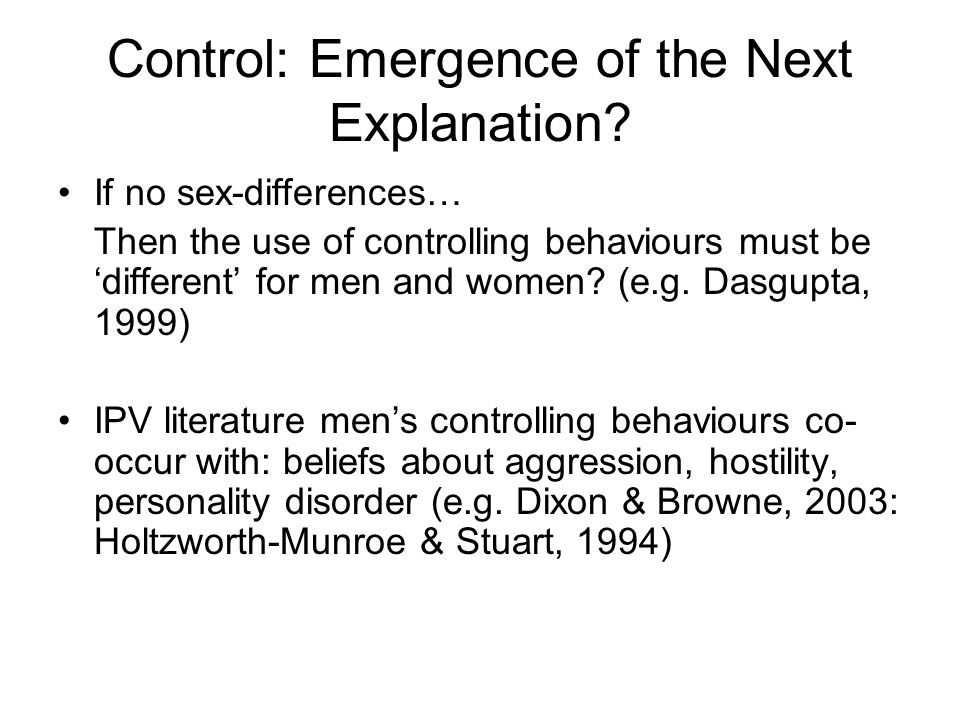 Control: Emergence of the Next Explanation