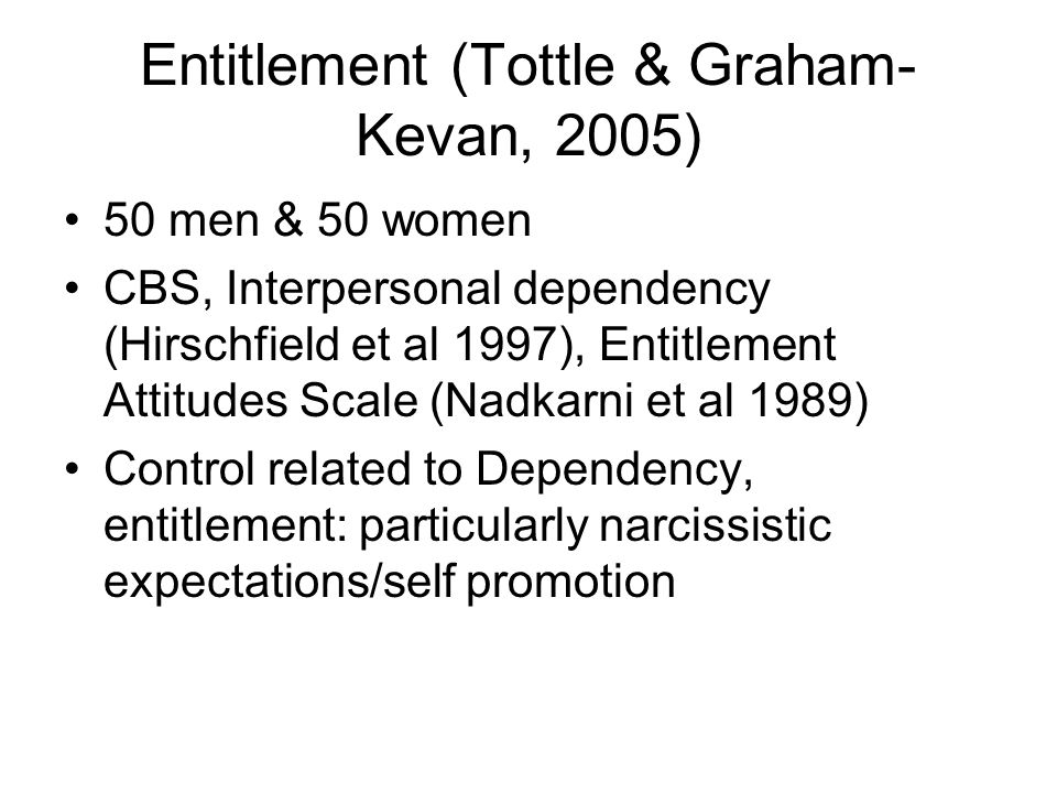 Entitlement (Tottle & Graham-Kevan, 2005)