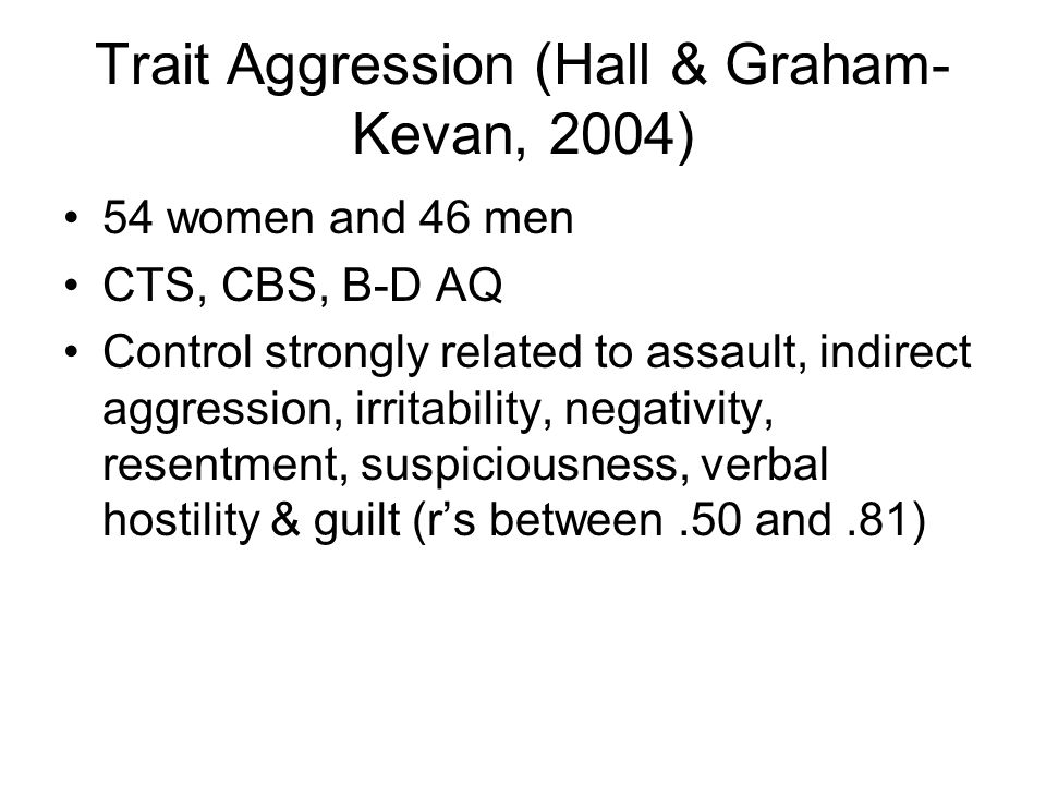 Trait Aggression (Hall & Graham-Kevan, 2004)