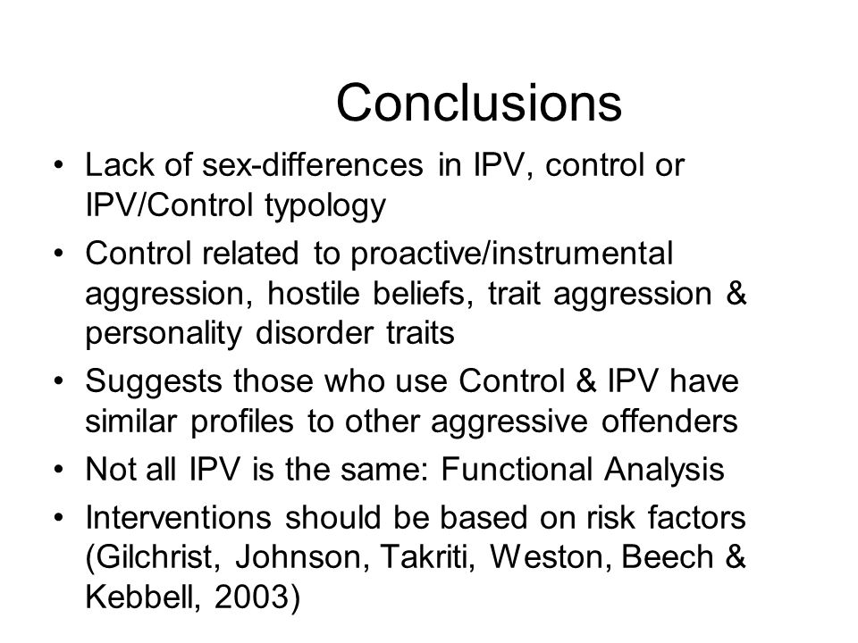 Conclusions Lack of sex-differences in IPV, control or IPV/Control typology.