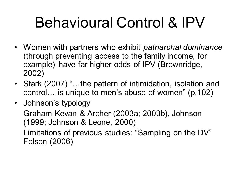 Behavioural Control & IPV
