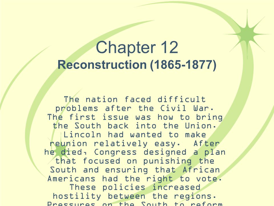 Chapter 12 Reconstruction (1865-1877)