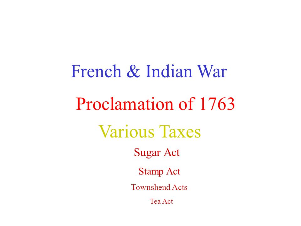 French & Indian War Proclamation of 1763 Various Taxes Sugar Act