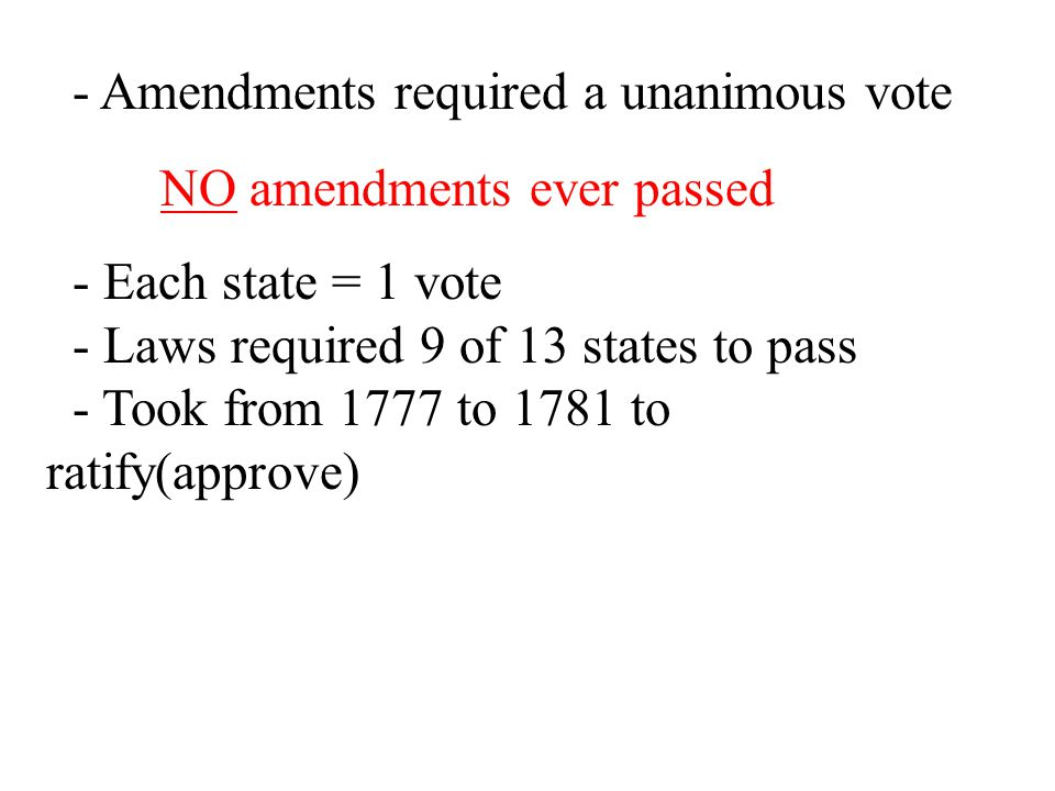 - Amendments required a unanimous vote
