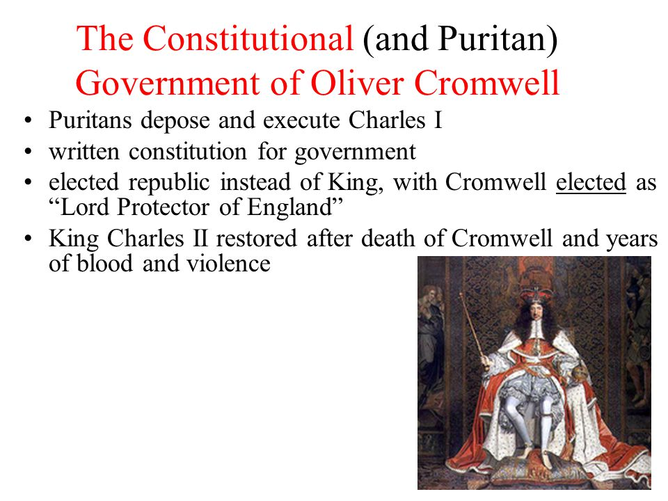 The Constitutional (and Puritan) Government of Oliver Cromwell