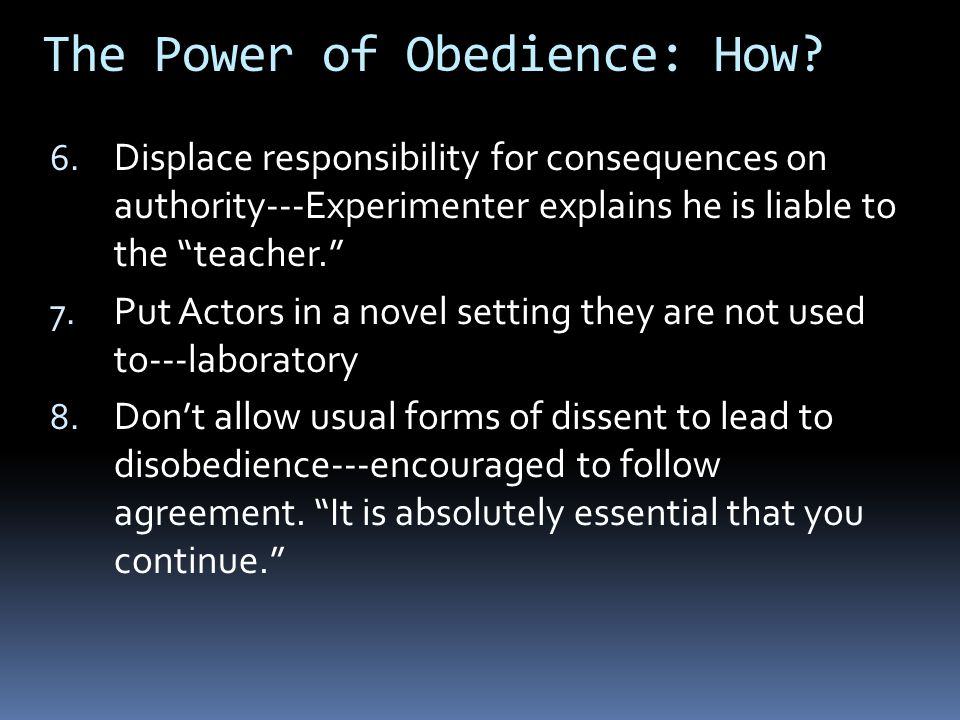 The Power of Obedience: How