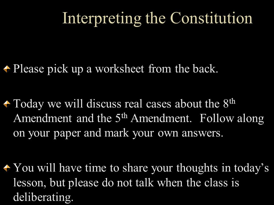 interpreting the constitution Non-originalism allows the constitution to evolve to match more enlightened the pragmatist judge does not deny that his role in interpreting the constitution is.