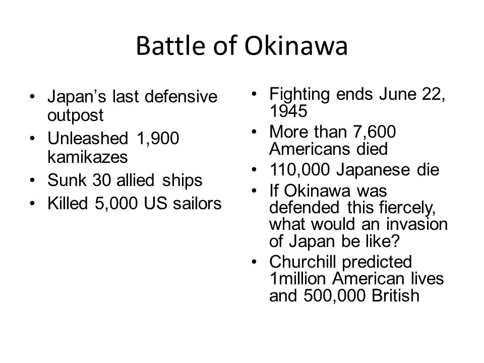Battle of Okinawa Japan's last defensive outpost