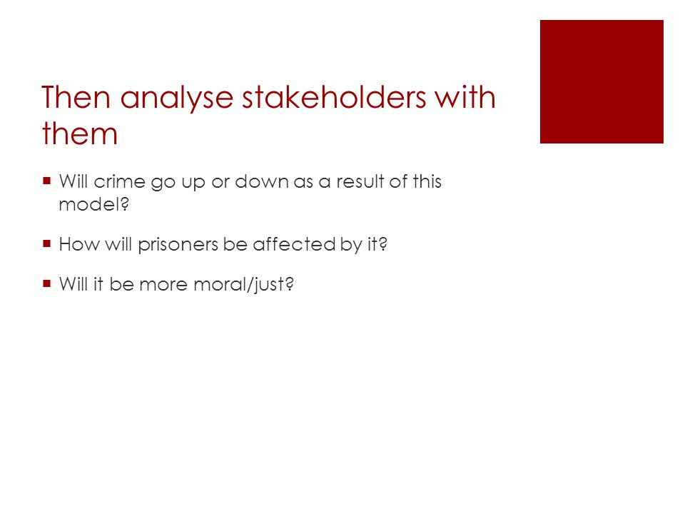 Then analyse stakeholders with them