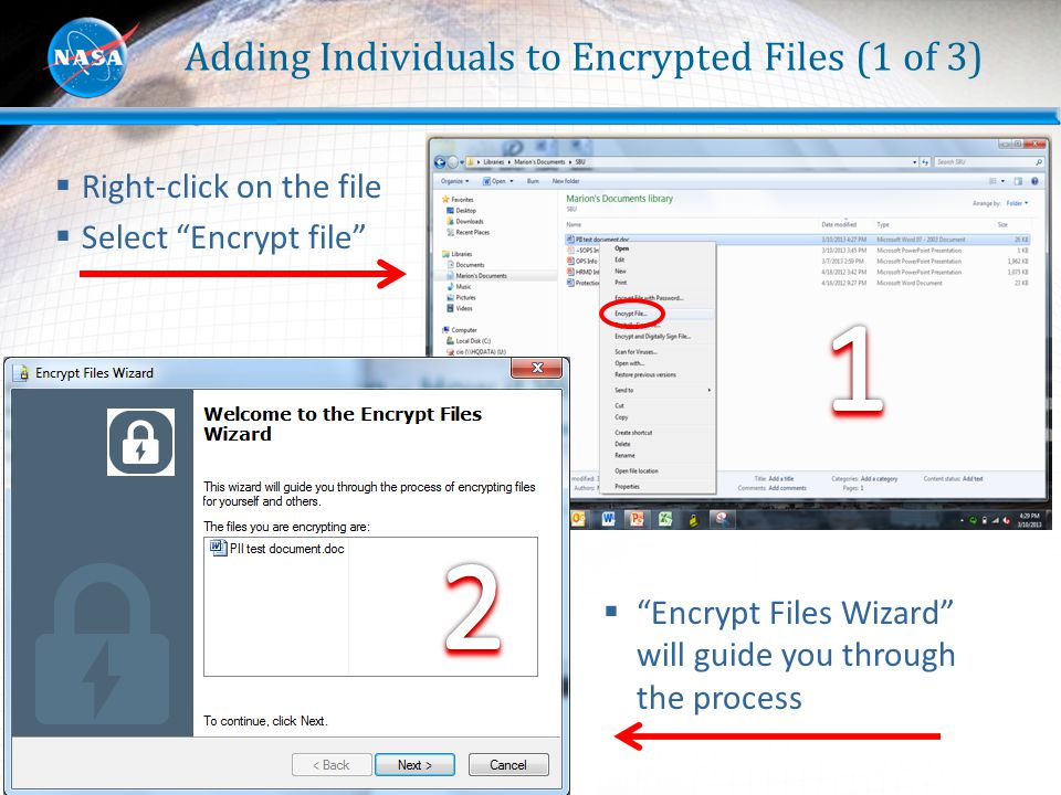 Adding Individuals to Encrypted Files (1 of 3)