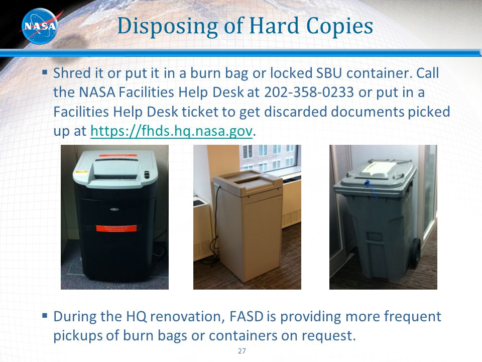 Disposing of Hard Copies