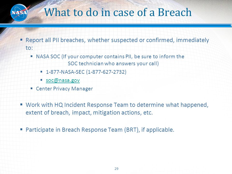 What to do in case of a Breach