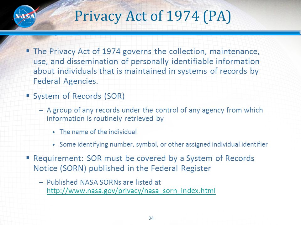 Privacy Act of 1974 (PA)