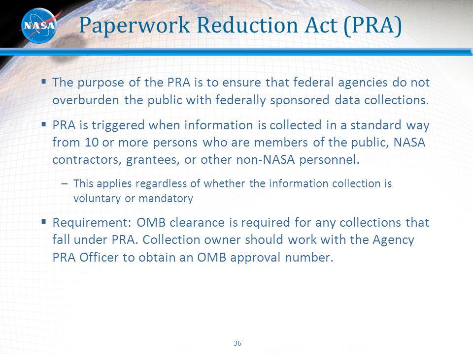 Paperwork Reduction Act (PRA)