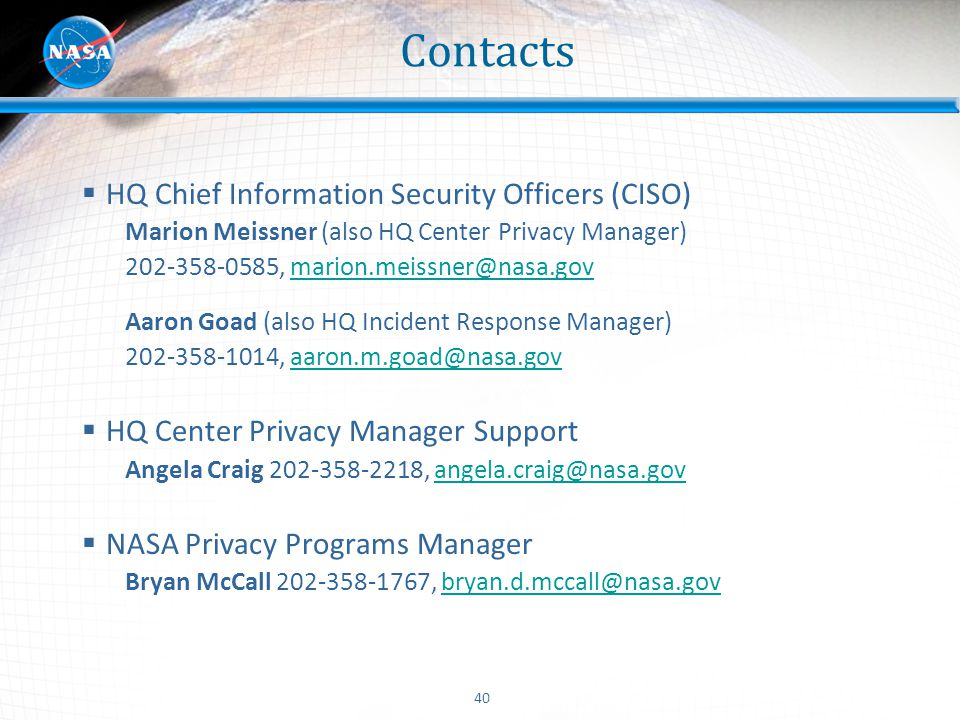 Contacts HQ Chief Information Security Officers (CISO)