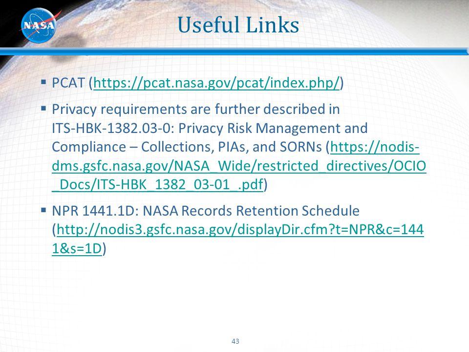 Useful Links PCAT (https://pcat.nasa.gov/pcat/index.php/)