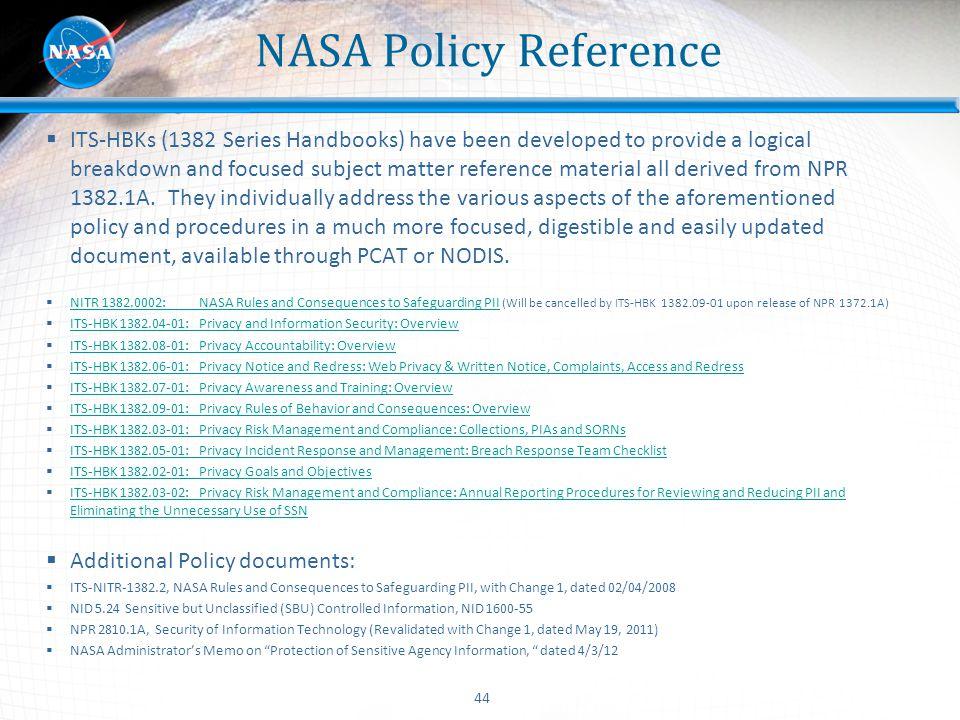 NASA Policy Reference