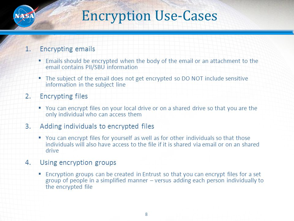 Encryption Use-Cases Encrypting emails Encrypting files