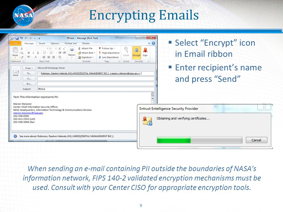 Encrypting Emails Select Encrypt icon in Email ribbon
