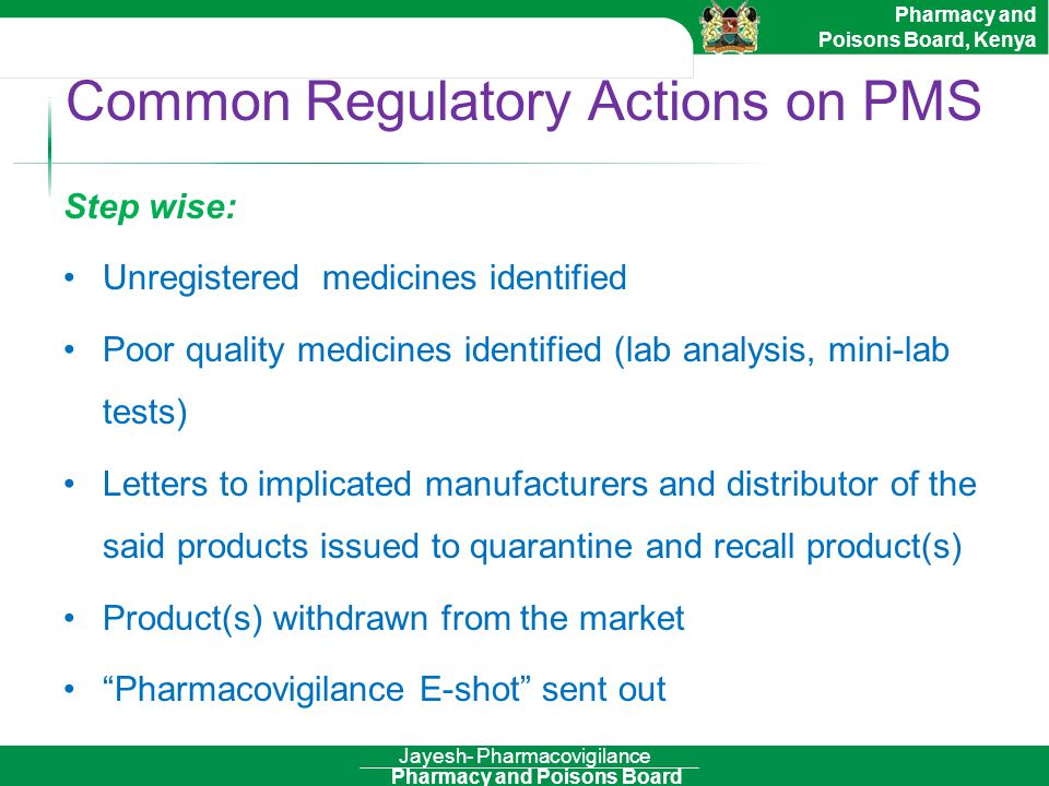 Common Regulatory Actions on PMS