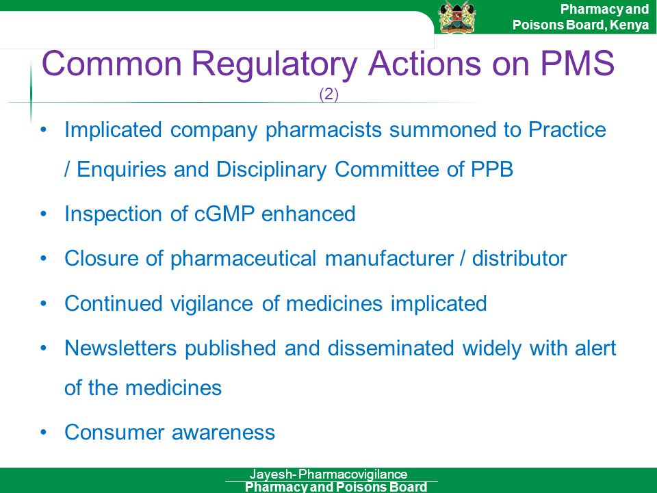 Common Regulatory Actions on PMS (2)
