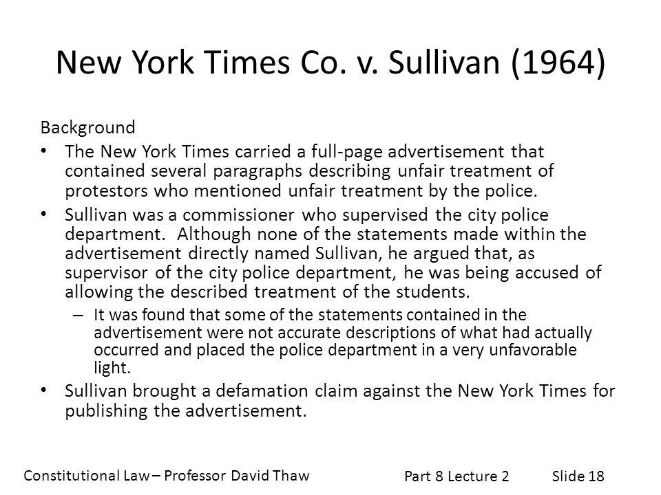 window to the past new york times v sullivan