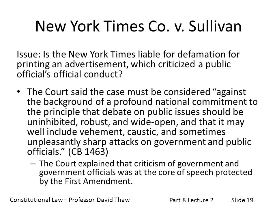New york times co v the