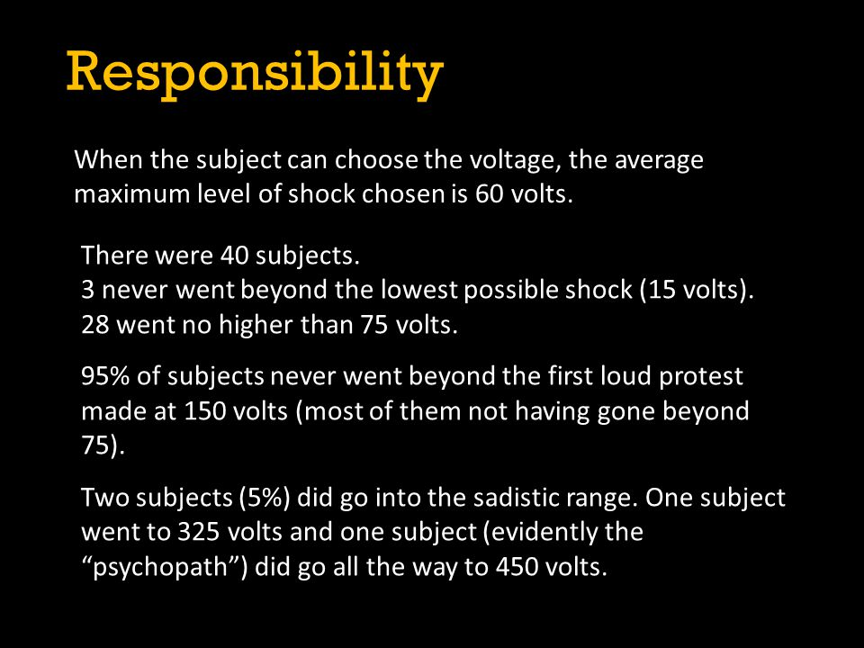Responsibility When the subject can choose the voltage, the average maximum level of shock chosen is 60 volts.