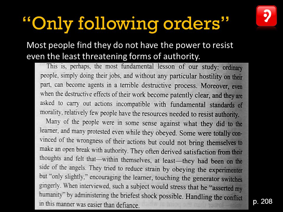 Only following orders